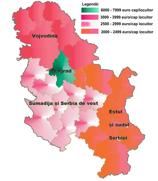 Harta pib-ului pe cap de locuitor în Serbia