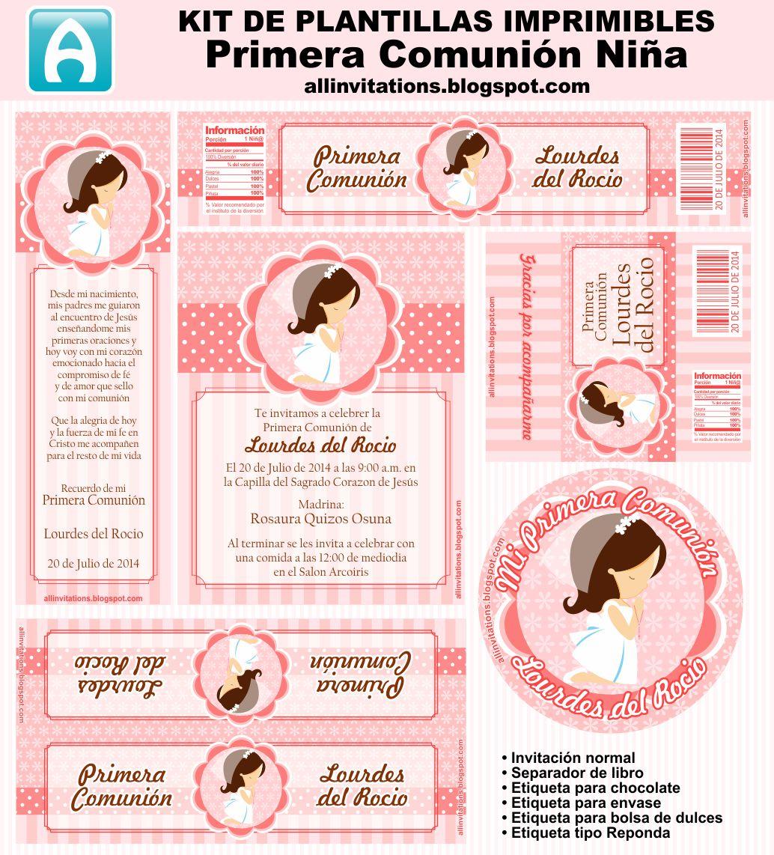 Lindo mini kit para primera comuni n de ni a para imprimir gratis oh my primera comuni n - Etiquetas comunion para imprimir en casa gratis ...
