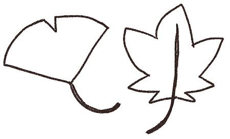 もみじとイチョウのイラスト(紅葉)線画