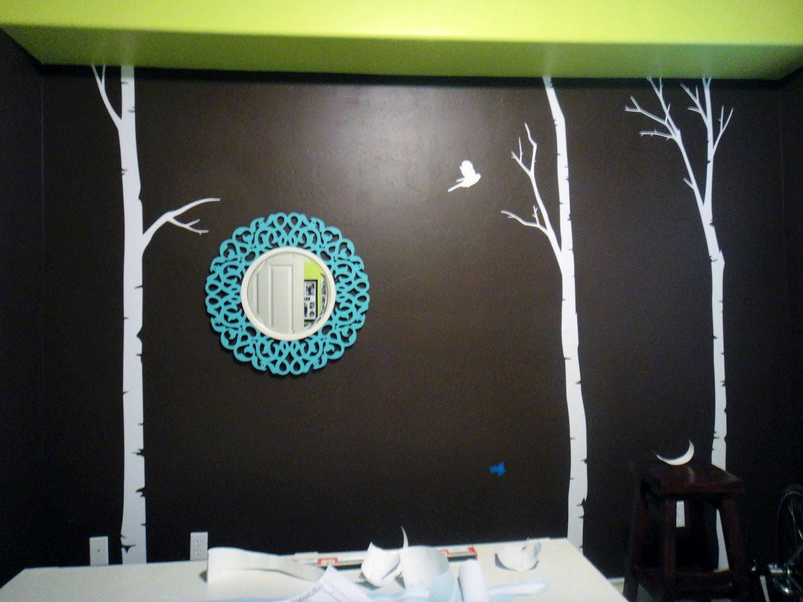 Spectacular Playroom Wall Adding the Vinyl Trees