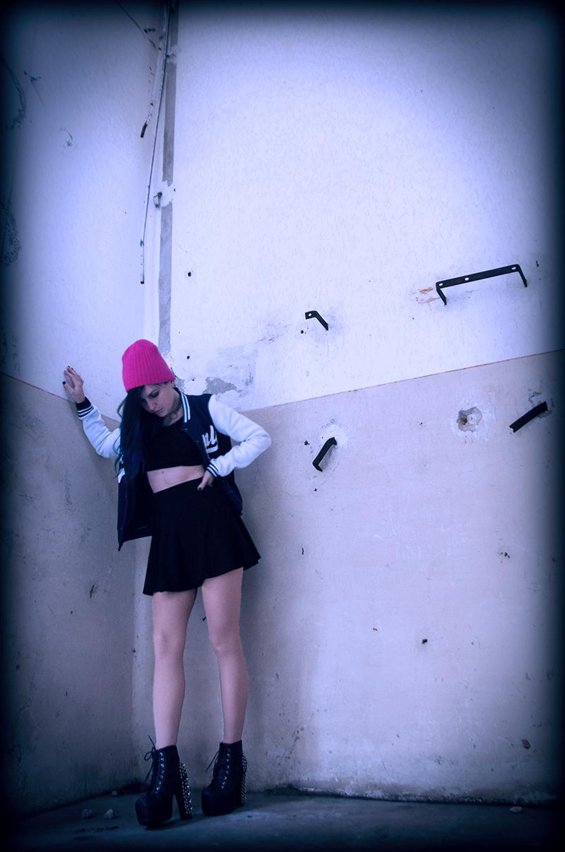 For Peet's Sake blog pink beanie baseball jacket black H&M crop top