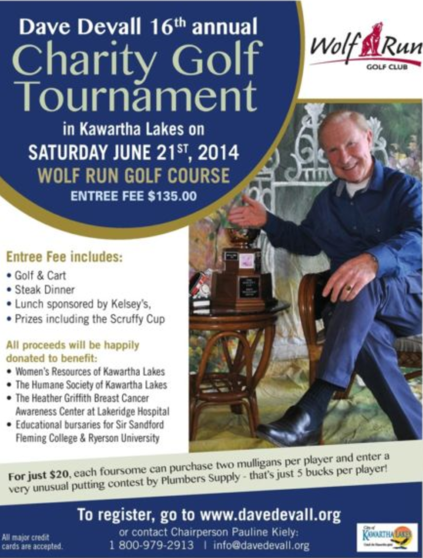 Dave Devall 16th Annual Charity Golf Tournament benefitting many Kawartha Lakes Charities