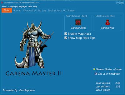 Garena Master v2.32 [ExpHack + Warcraft III + Garena Hack + MapHack + Auto Room] 2.32+GM