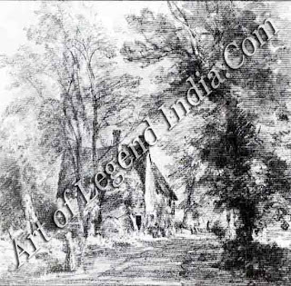 Stratford St Mary, This pencil and wash sketch shows the house once known as Old Valley Farm, on the road towards Dedham from Stratford St Mary. Constable sketched the house twice in 1827.