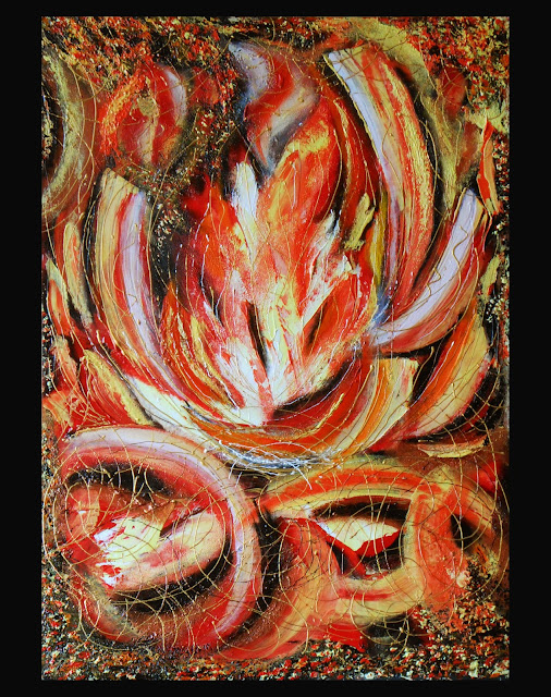 "Original Painting abstract "" Fireplace"" in handmade. This painting on a cardboard with acrylic ground a palette knife. Acrilyc on the grounded cardboard 13.78"" x 19.68 (35 cm x 50cm). This Painting can be used for a therapy art. Buy and see other Painting you at: http://www.etsy.com/shop/PaintingInterior This original Painting  available in a variety of printed styles  at  http://painting.artistwebsites.com/"