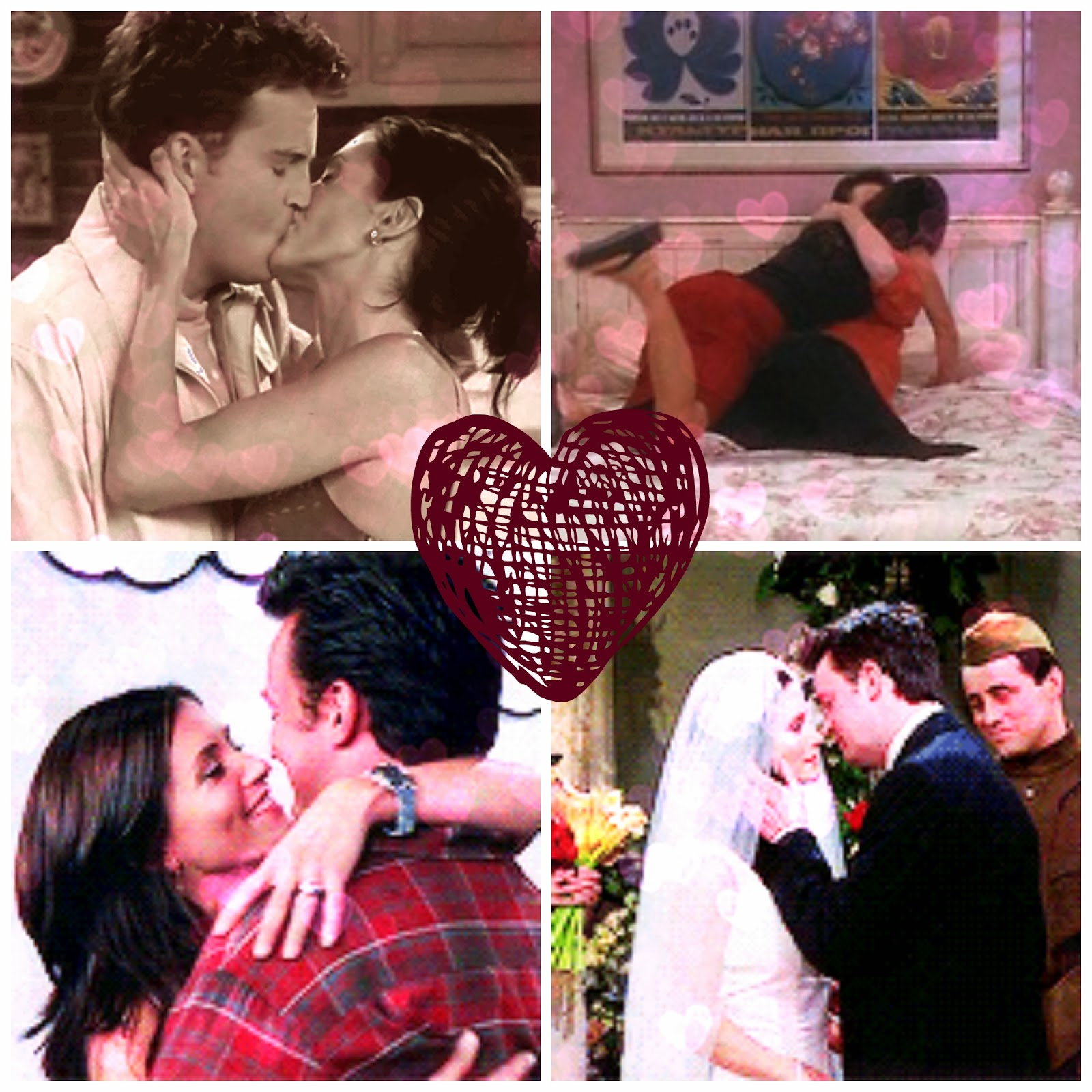 Besos de Chandler y Monica de la serie Friends.