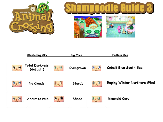 Hair Guide (Shampoodle's) - Animal Crossing: New Leaf Guide