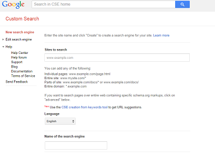 Image: How to setup Google Custom Search Engine step 2