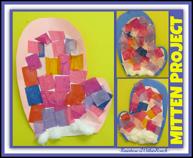 photo of: Mitten Art Work on the Bulletin Board via RainbowsWithinReach