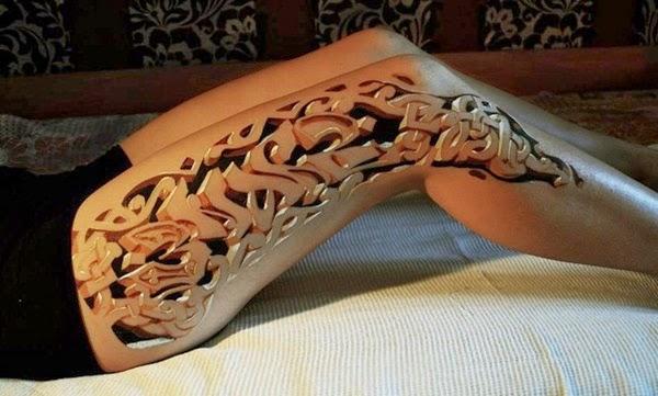 tattoo 3d leg na perna