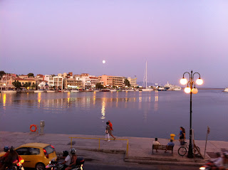 Watching the moon rise over Mytilene Harbor from the Sappho Hotel.