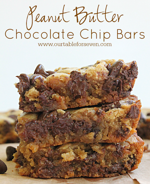 Peanut Butter Chocolate Chip Bars • Table for Seven