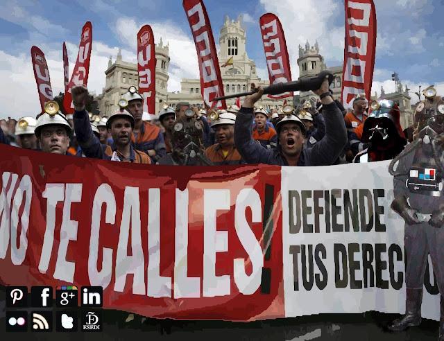 Mineros asturianos del carbón en huelga con darth vader y tie bomber pilot