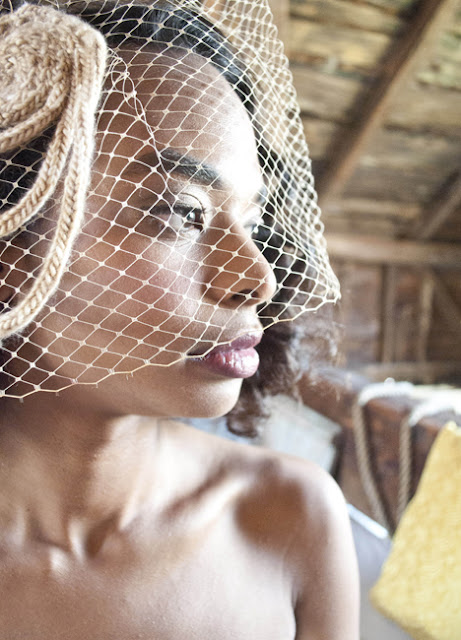Vintage Rustic Farm Wedding Catskills shot by fine art wedding photographer Angela Cappetta birdcage veil fascinator