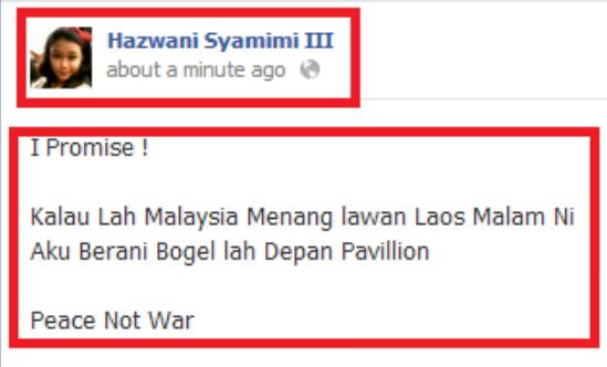 Panas!!awek facebook nak buka baju kalau malaysia menang lawan laos