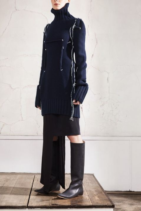 Maison Martin Margiela for HM, Navy visible darts pullover, black patch of two dresses, black leather boots, designer collaboration, amazing fashion, unique style, fashion, style