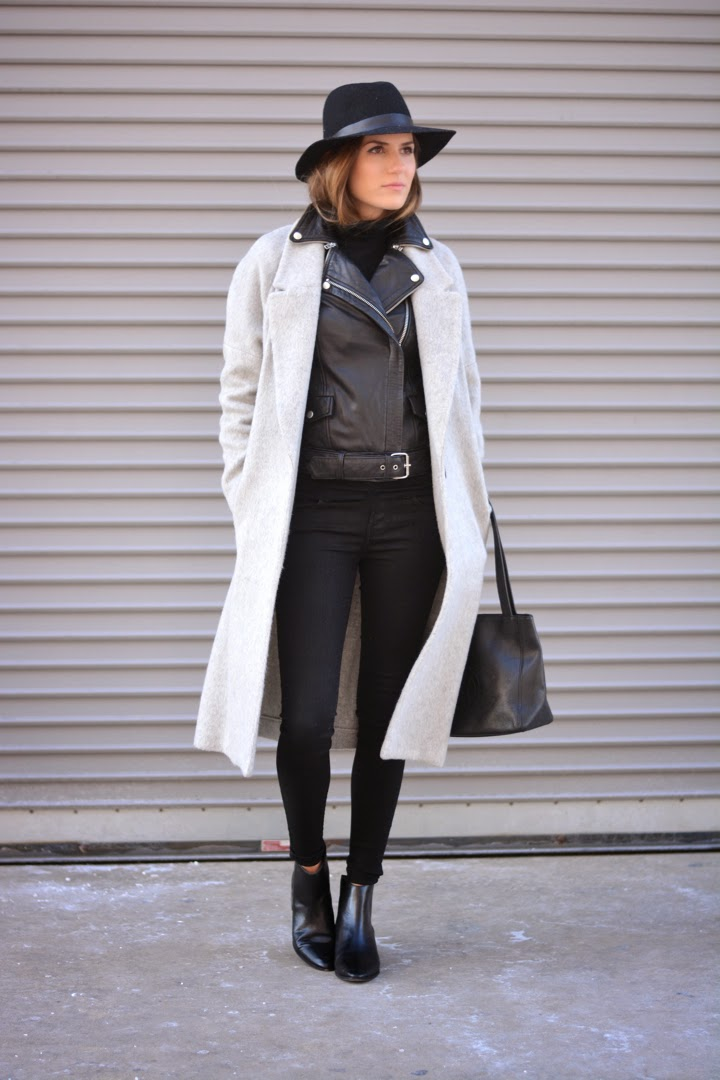 winter, layers, leather, black, gray