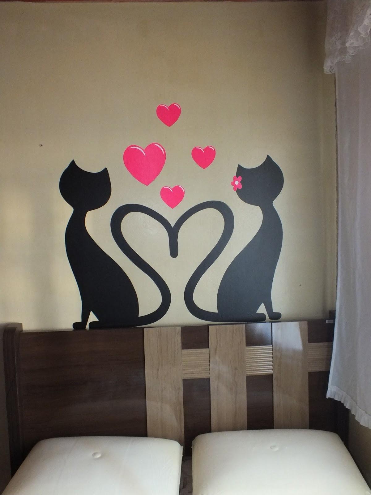 Artesanato Com Feltro Para Vender ~ Sou Arteira Adesivo de parede (casal de gatinhos)