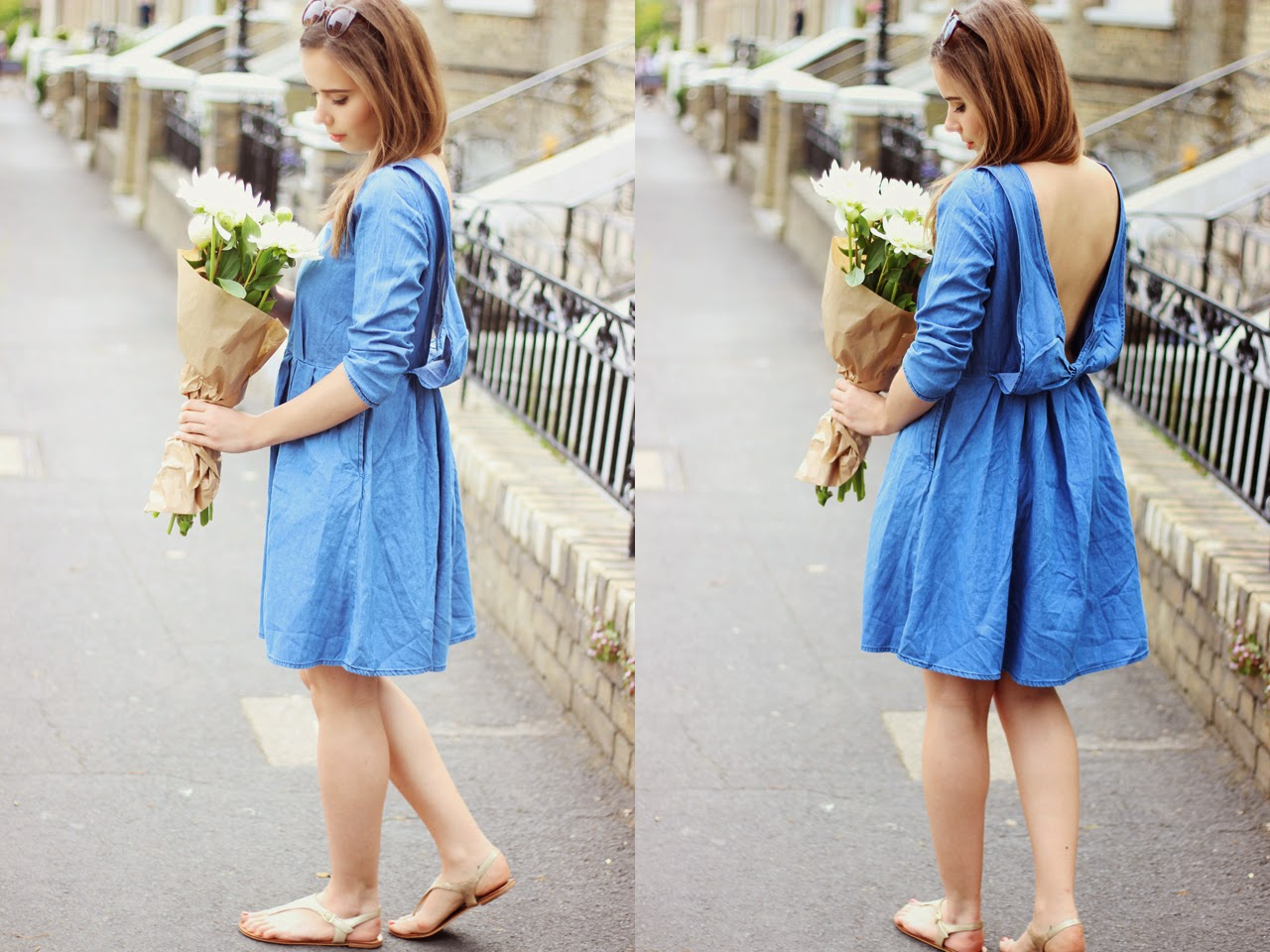 Backless Denim Dress