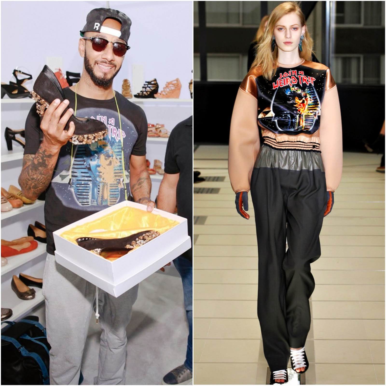 00O00 Menswear Blog: Swizz Beatz in Balenciaga 'Join A Weird Trip' t-shirt - FN Platform, Las vegas September 2013