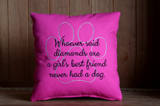 Whoever said diamonds are a girl's best friend never had a dog Dog Lover Pillow | Belinda Lee Designs | http://www.belindaleedesigns.com