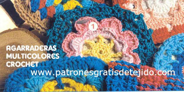 Agarraderas tejidas al crochet con diseños originales y múltiples colores