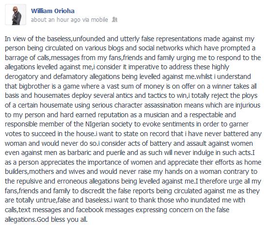 Rapper 2Shotz Releases Statement Denying Ever Assaulting Ex-girlfriend, Beverly Osu