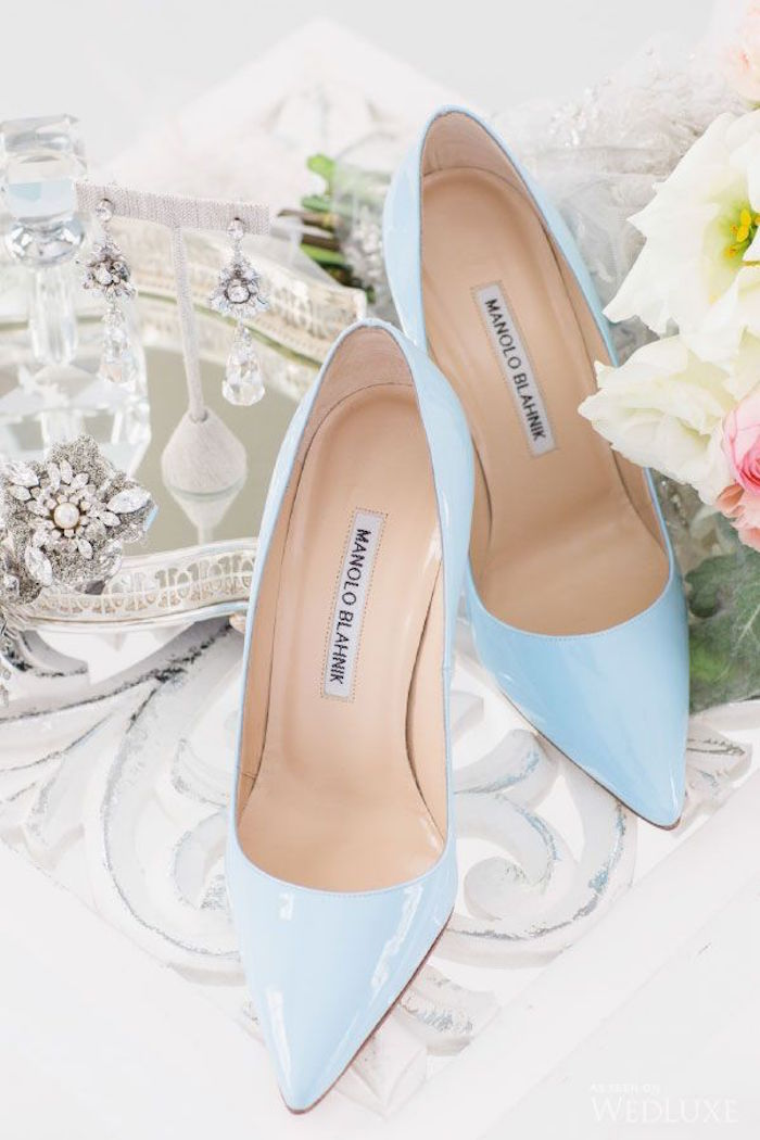 Exceptional Manolo Blahnik Baby Blue Bridal Wedding Shoes
