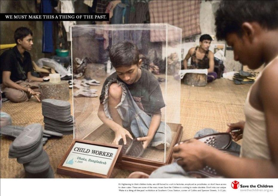 """Anuncio de """"Save the Children"""" contra la explotación laboral de menores, esclavitud del siglo XXI."""