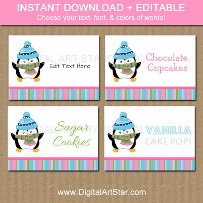 printable winter onderland candy buffet labels with penguin & editable text