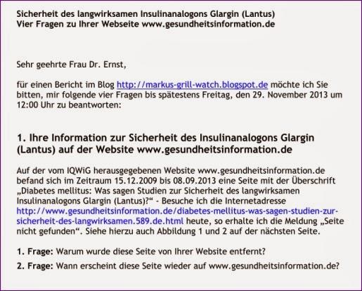 Sicherheit des langwirksamen Insulinanalogons Glargin (Lantus) Vier Fragen zu Ihrer Webseite www.gesundheitsinformation.de