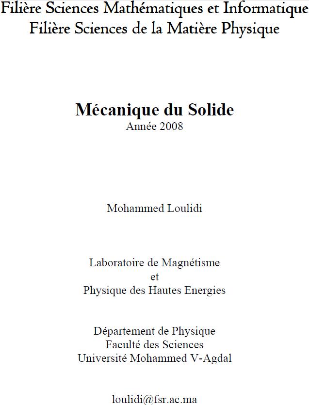 Cours Mécanique du Solide S3 FSR
