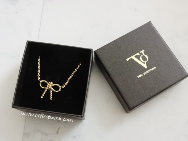 TOV essentials gold ribbon necklace