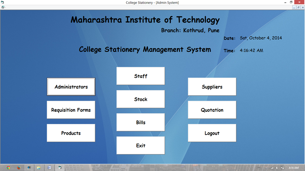 Vb Net Project On College Stationery Management System