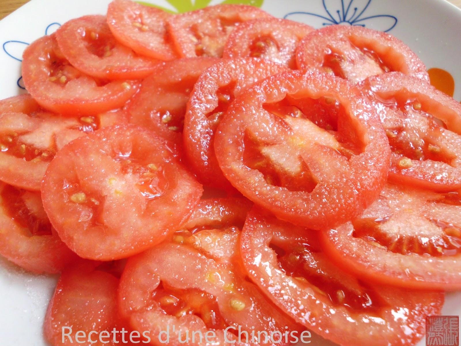 Recettes d 39 une chinoise salade de tomates sucr es t ngz f nqi - Salade de tomates simple ...