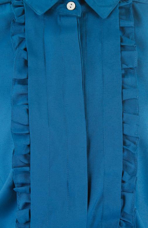 Courtroom Ruffle Blouse – Azure Blue