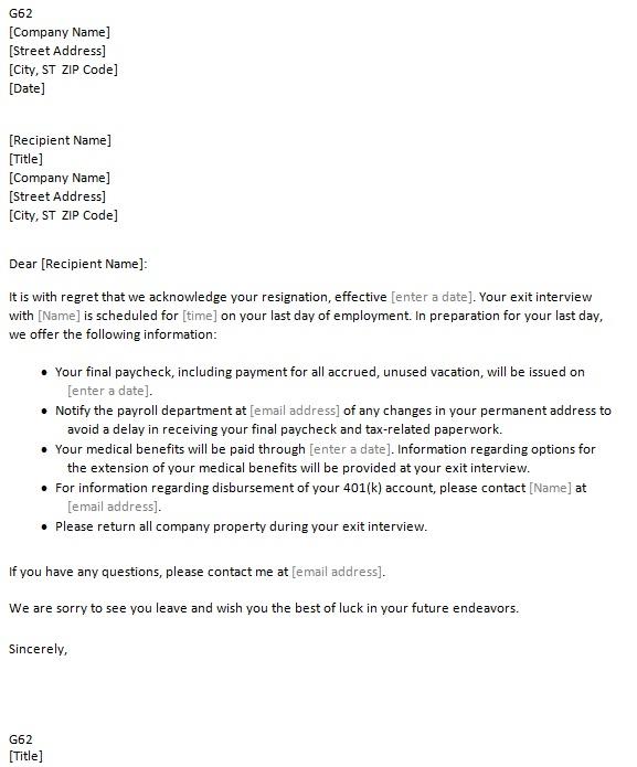 resignation acceptance letter template sample