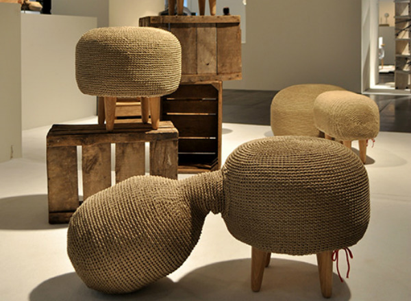 Farming Furniture Made Of Crocheted Hemp Rope And Wooden Details