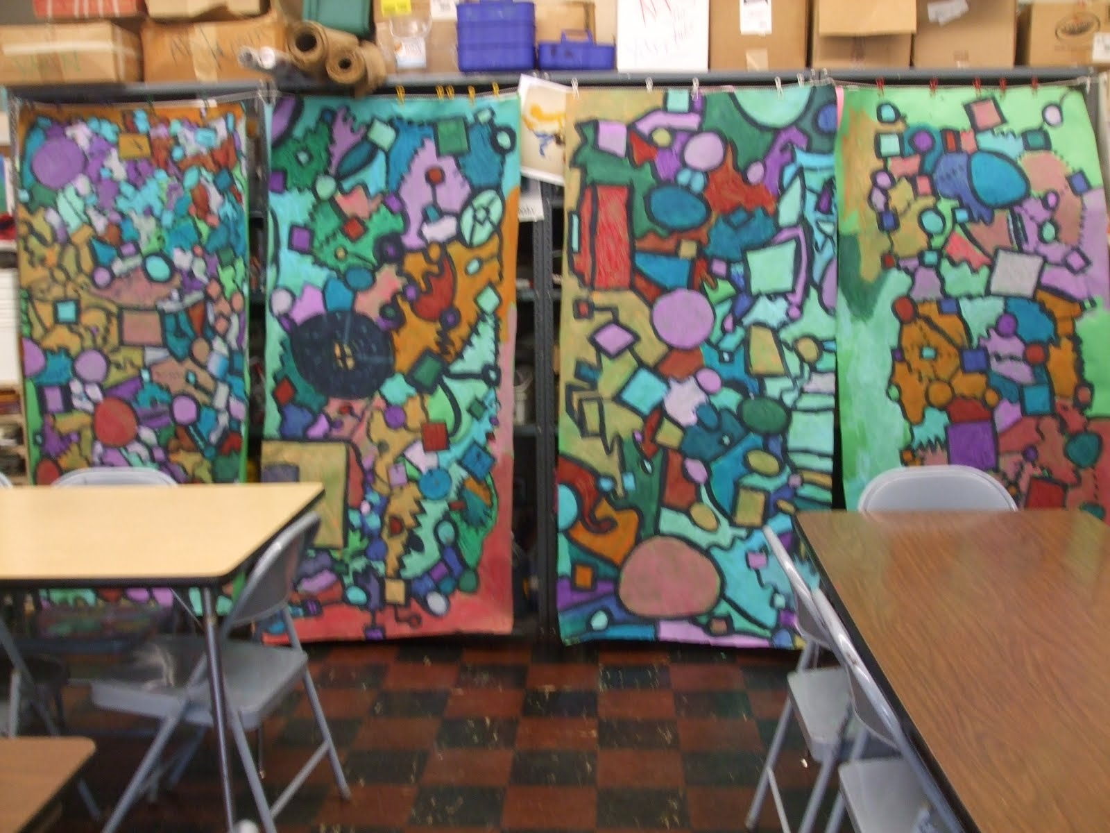 rainbow skies dragonflies collaborative abstract murals 4th grade. Black Bedroom Furniture Sets. Home Design Ideas