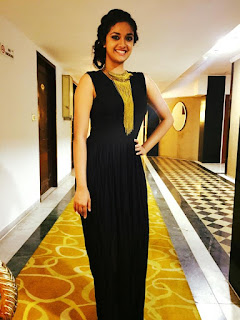 Keerthi Suresh Mallu Malayalam Actress in Black Jump Suit Gown Spicy Pics
