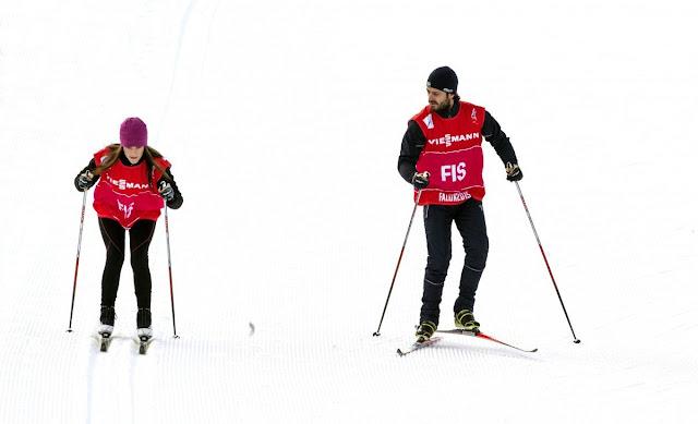 Carl Philip and Sofia Hellqvist skiis at Lugnet ski stadion in Falun, Sweden