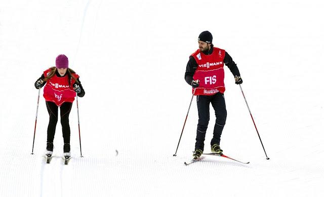 Carl Philip and Sofia Hellqvist skiis at Lugnet ski stadion in Falun, Sweden