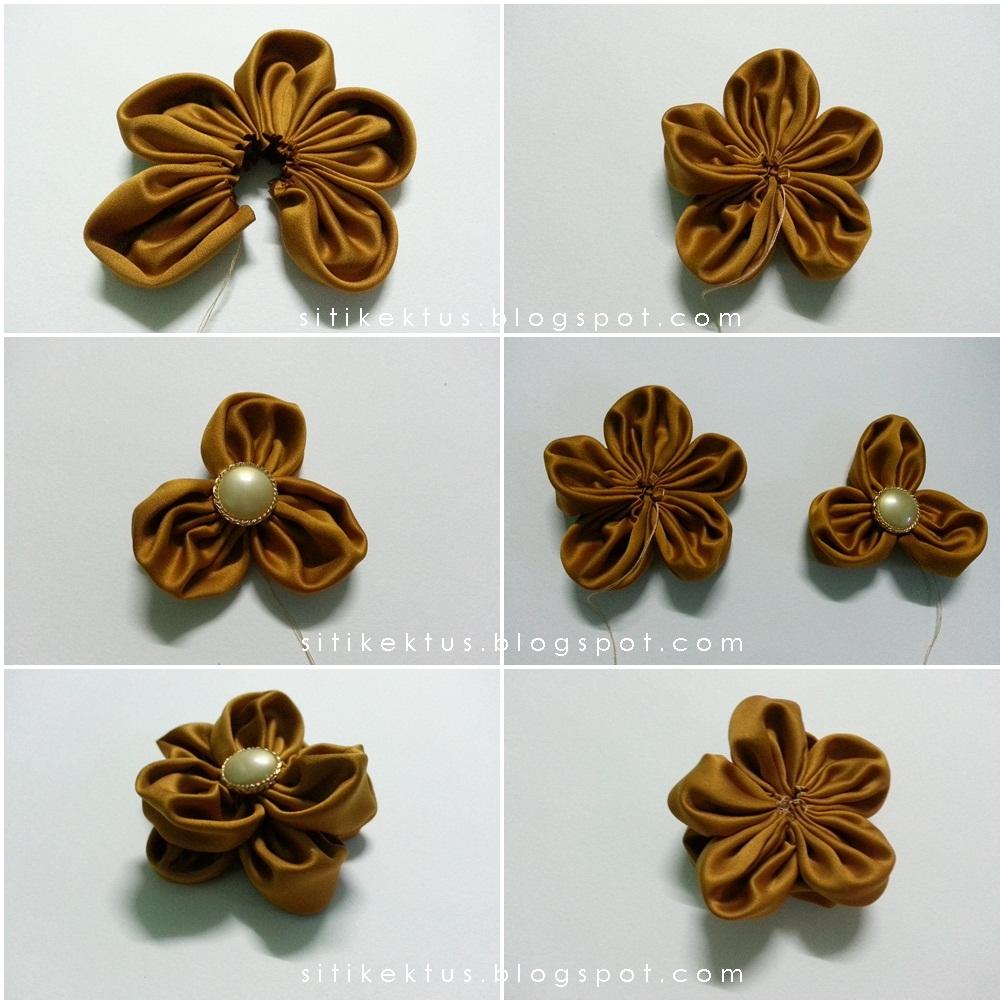 sudah bunga fabrik ku pada yang teringin nak buat brooch dari bunga