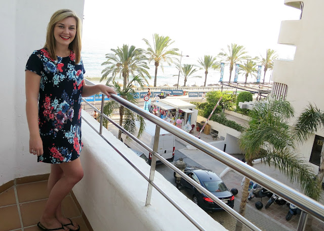 Marbella Hotel Balcony Sea View Summer Holiday Outfit Floral Dress