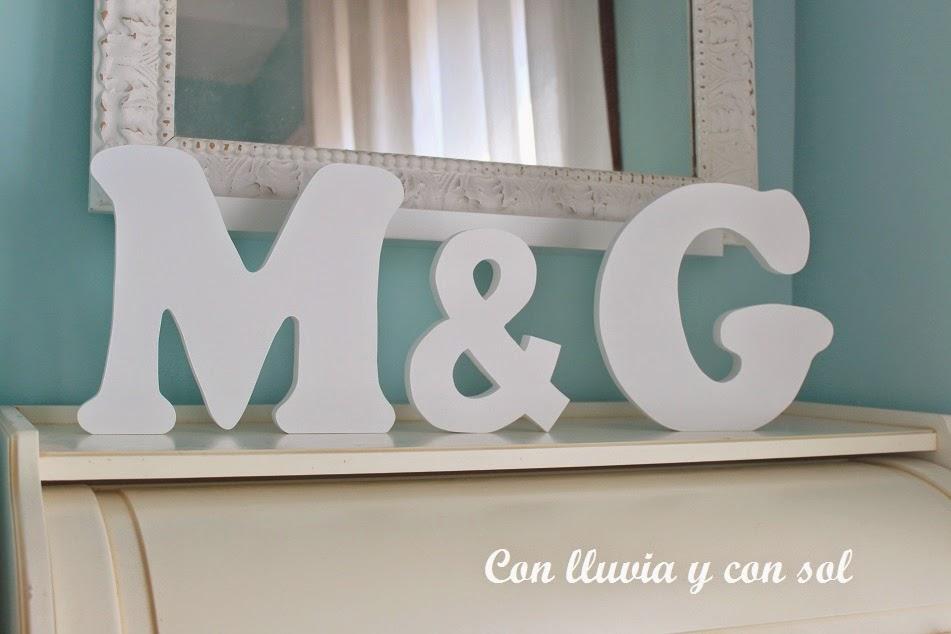 Con lluvia y con sol letras de madera para decorar m g - Letras de madera para decorar ...