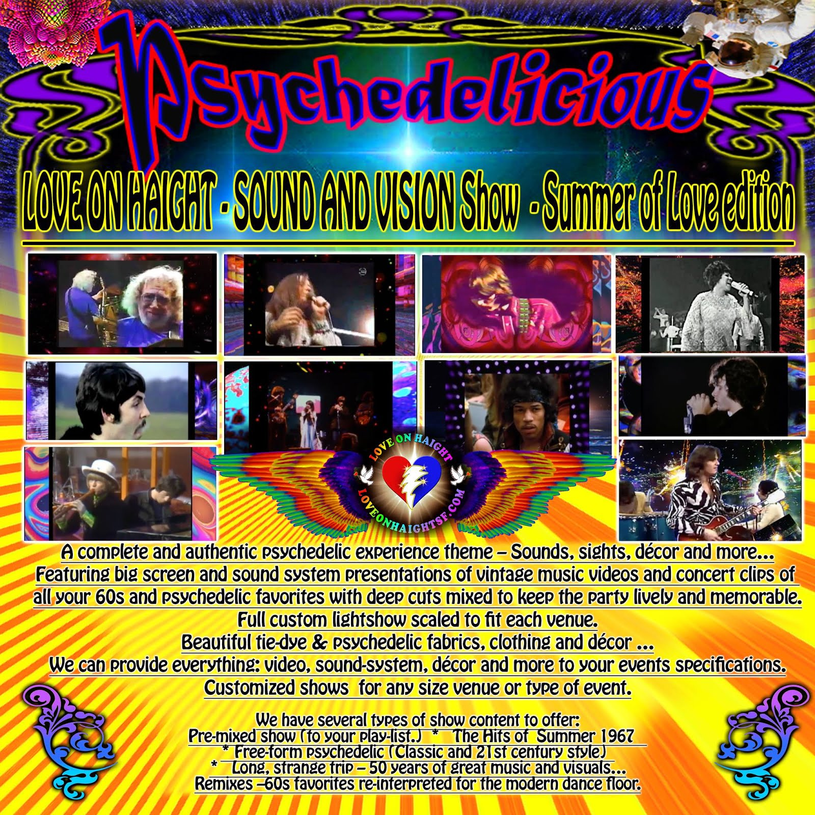 Psychedelicious :Bring a psychedelic experience to your events with video, sound, lights and decor!