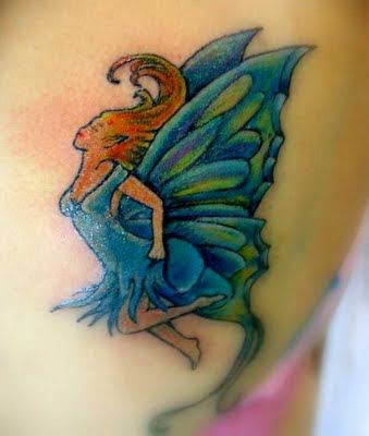 blue dance fairy tattoo