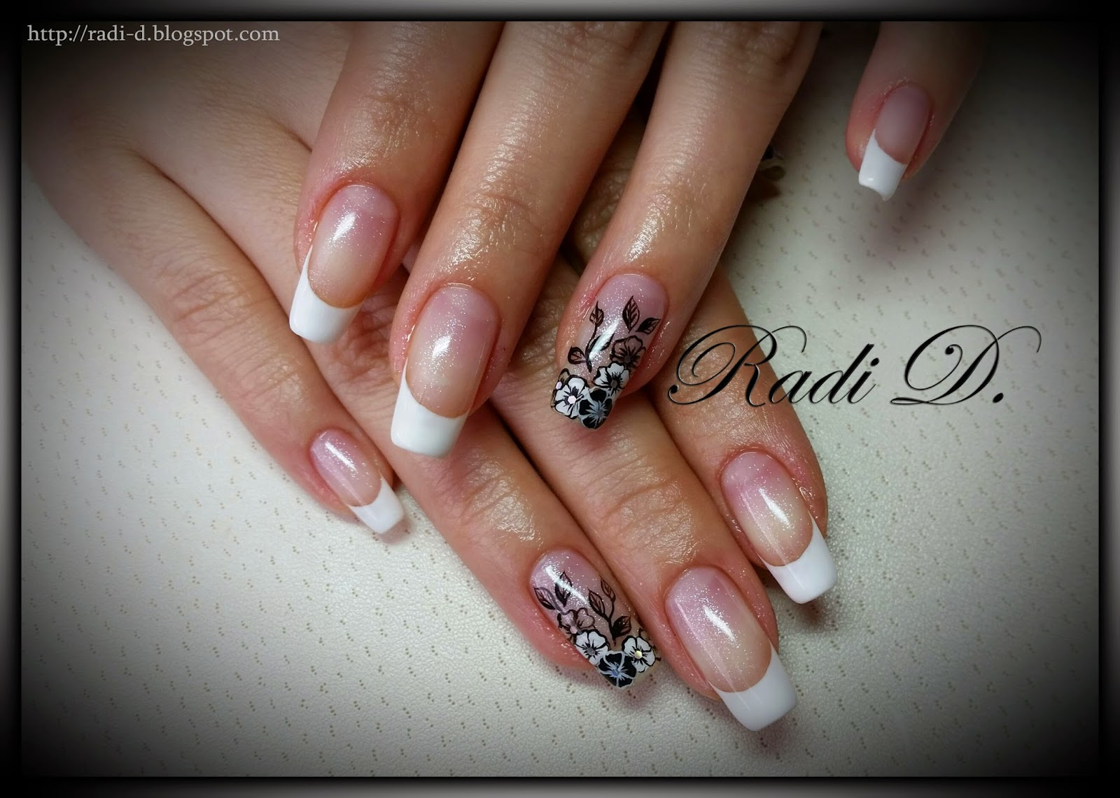It`s all about nails: French with flowers- gel polish