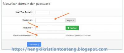 cara buat website ~ domain dan password
