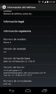 12 noviembre nexus 4, nueva compilación android 4.4